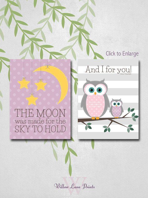 8x10 Owl Baby Girl Nursery Prints Owl Nursery Decor