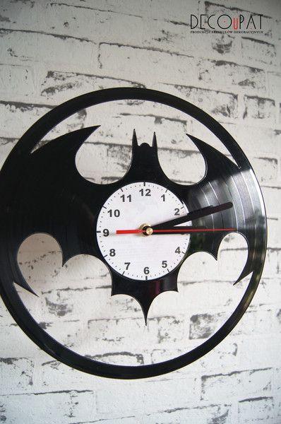 """Zegar+z+płyty+winylowej+""""Batman""""+w+DECOuPAT+na+DaWanda.com"""