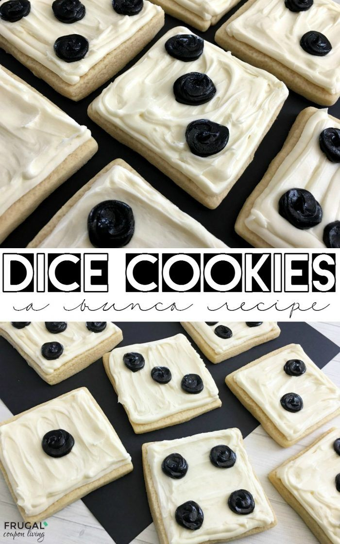 This Bunco Recipe Idea,  Dice Cookies, are fun for a family game night or girls night of dice. Easy Cookie Recipe and delicious Bunco Idea. Recipe on Frugal Coupon Living.
