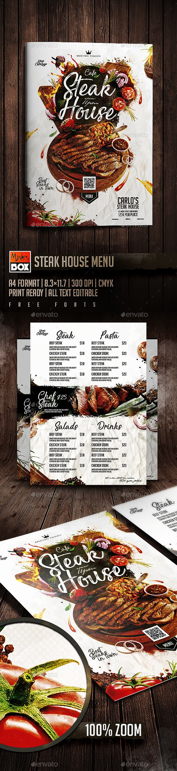 Steak House Menu - Food Menus Print Templates