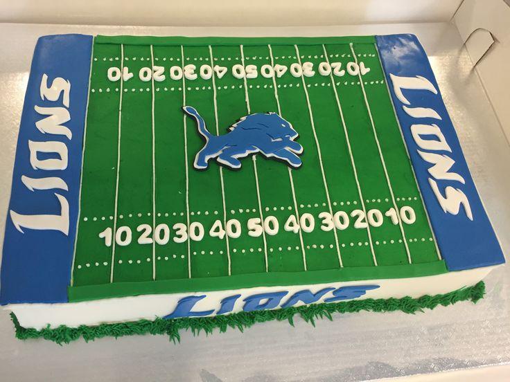 Detroit Lions groom's cake.  Football cake.