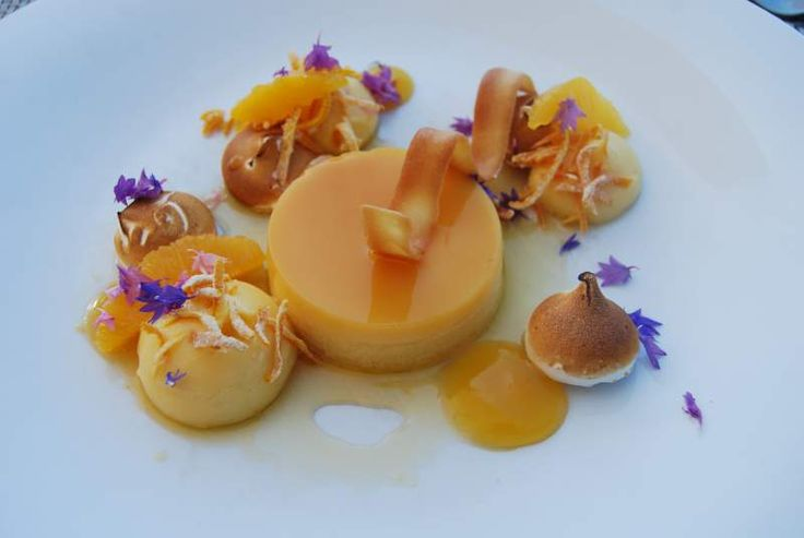 Passionfruit creme caramel, toasted meringue, passionfruit gel, citrus