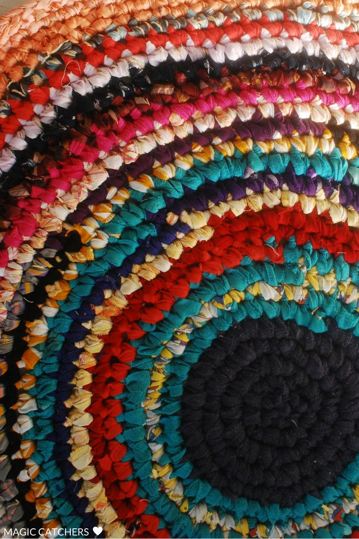 Handmade colorful crochet rug, boho, rustic rug.