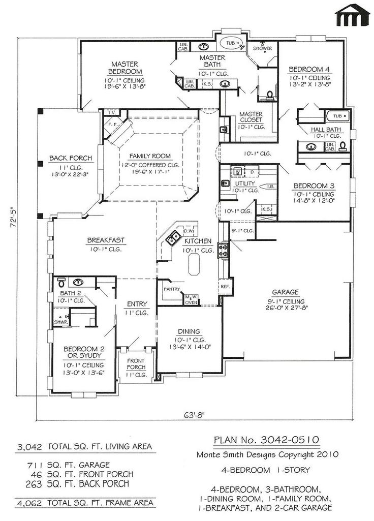 105 best images about house plans on pinterest 3 car - Single story four bedroom house plans ...