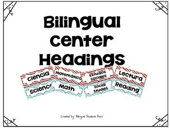 This product contains the following bilingual center signs. Ciencia/ScienceMatematicas/MathEstudios Sociales/Social StudiesLectura/ReadingYou will also get the following four signs that can be used around the classroom. Parejas Bilingues/Bilingual Pairs Alfabeto Hecho por Estudiantes/Student Generated AlphabetHorario de Clase/Class ScheduleLectura Guiada/Guided ReadingThank you for your purchase and please be kind to leave feedback.