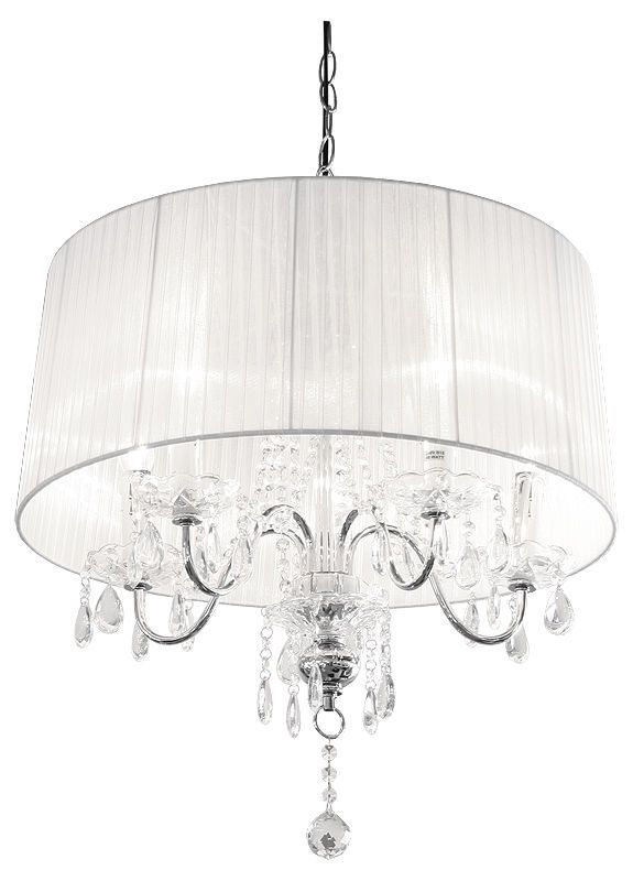 5 Light Beaumont Crystal Droplet Chandelier Drops With White Shade