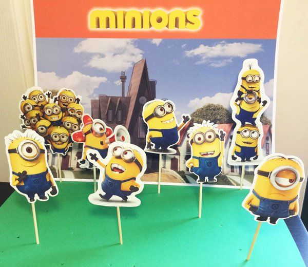 minions cupcake topper, party supplie decoration, theme cupcake, birthday cupcake toppers, minions inspired   Happy Party