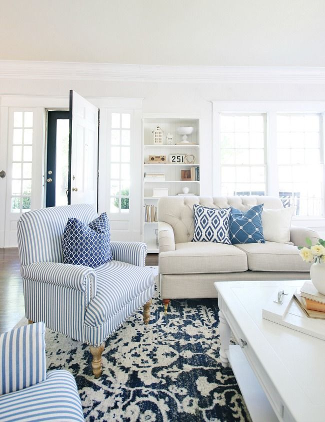 Blue And White Decor Ideas For Your Home Thistlewood Farm Blue And White Living Room Blue And Cream Living Room Blue Living Room