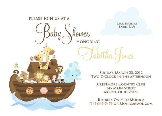 Attractive Noahu0027s Ark Baby Shower Baptism Christening Birthday Invitations | Custom  Design | Professionally Printed Card Stock | Boy Girl Twin Sibling