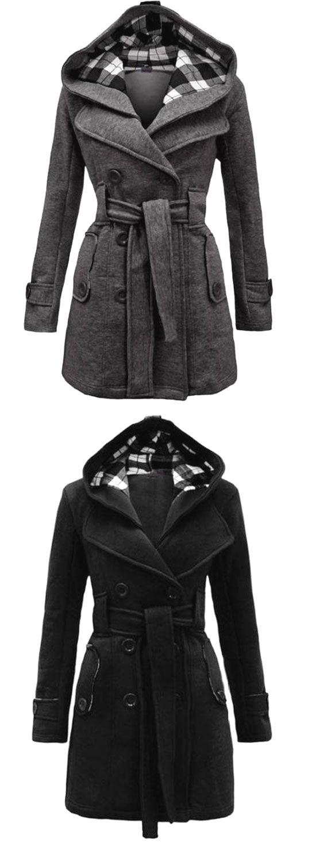 Fashion lattice fleece hoodie double breast coat jacket for big