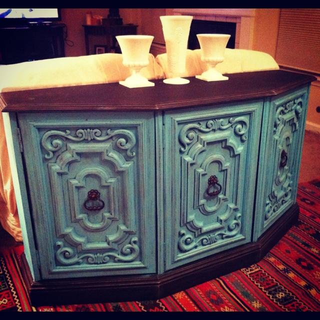 Turquoise southwestern console table. Vintage. Shabby chic. Facebook: theshabbyshore