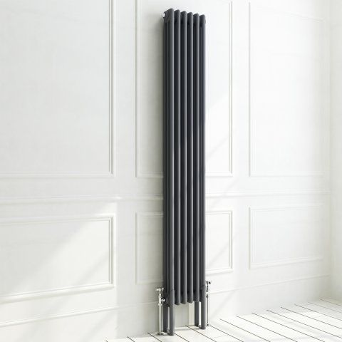 1800x290mm Anthracite Triple Panel Vertical Colosseum Radiator - Roma Premium