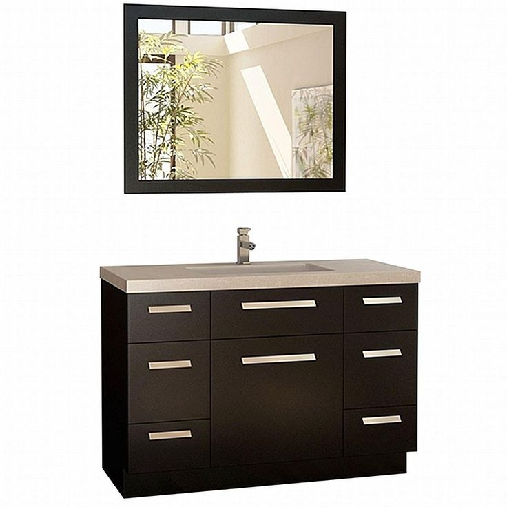 Design Element Moscony 48 in. Vanity in Espresso with Quartz Vanity Top and Mirror in White-J48-DS at The Home Depot