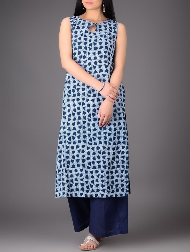 Buy Indigo-Ivory Natural-dyed Boat Neck Cotton Kurta Online at Jaypore.com