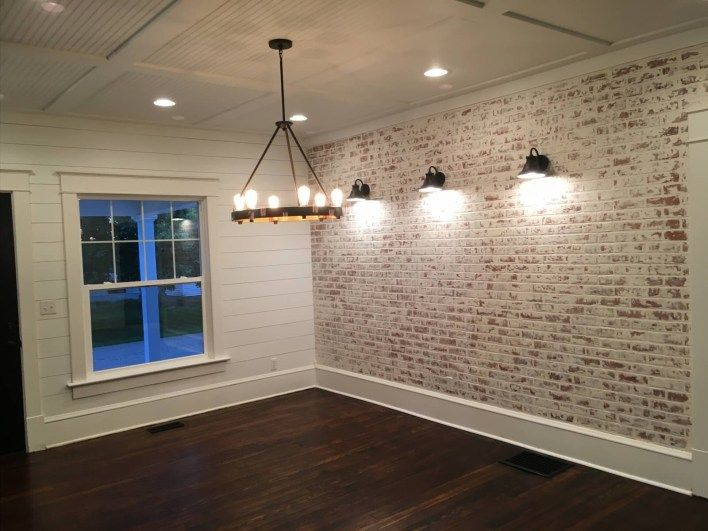 How To Build A Faux Brick Wall The Restoring House Faux Brick Walls Brick Interior Wall Brick Wall Paneling