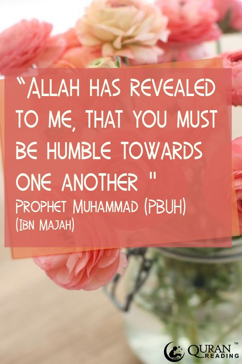 """Allah has revealed to me that you must be humble towards one and other."" - Prophet Muhammad (PBUH) #Hadith #Manners #Brotherhood #Islam"