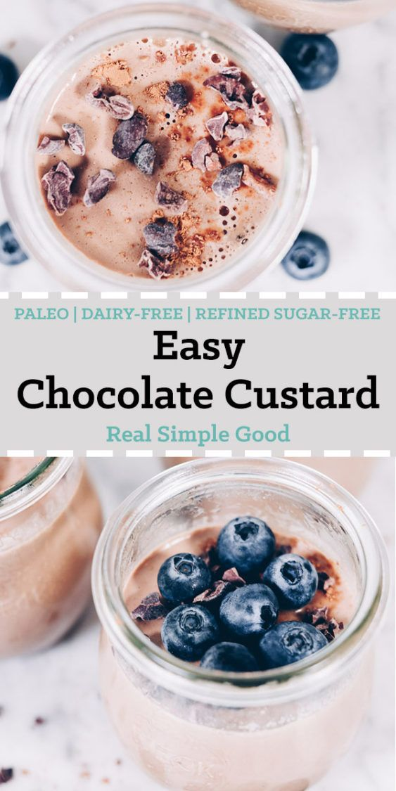 This creamy, easy chocolate custard is the perfect treat to celebrate the holiday of looovveee. If you are a chocolate fan, you will love this easy chocolate custard. We use raw cacao to get that rich, dark chocolate flavor and then sweeten with maple syrup. #paleo #dairyfree #refinedsugarfree | realsimplegood.com