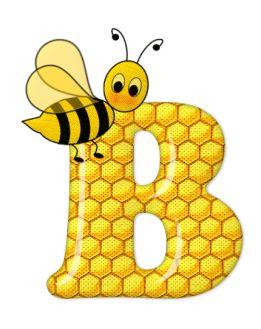 Alfabeto abelhas com letras em fundo de colméia amarelo - Alfabetos Lindos