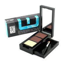 Sombra de olho Eye Brow maquiagem 2 cores à prova d ' água sobrancelha pó + sobrancelha cera paleta + escova + espelho Make Up Set Kit E15001 # alishoppbrasil