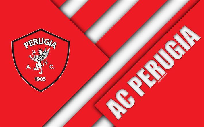 Download wallpapers AC Perugia Calcio, 4k, material design, Perugia logo, red white abstraction, emblem, Italian football club, Perugia, Italy, Serie B
