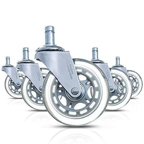 "Modern Innovations 3"" Office Chair Casters Set of 5 Heavy Duty Rollerblade Style Office Chair Wheels Safe for all Floors Hardwood Laminate and Carpet - Replacement Office Chair Wheels"
