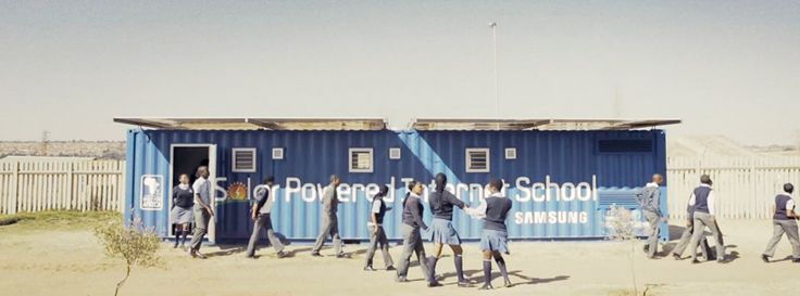 samsung solar powered internet shipping container schools