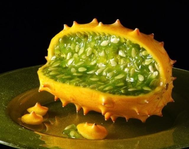 """Kiwano    2. Kiwano  Pertenece a la familia de las Cucurbitáceas, la cual incluye numerosos y variados frutos, generalmente grandes y de corteza muy dura, como la sandía y el melón. Es en realidad un fruto silvestre, muy aromático y sabroso. También se lo conoce como """"pepino cornudo o silvestre"""".    Aunque procede de Nueva Zelanda, su cultivo se ha extendido también a Brasil e Israel.  Su componente mayoritario es el agua.  Es un fruto de muy bajo valor calórico"""