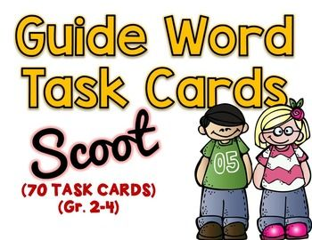 GUIDE WORD TASK CARDS - 70 questionsCommon Core Aligned to:CCSS.ELA-LITERACY.L.2.2.EConsult reference materials, including beginning dictionaries, as needed to check and correct spellings.CCSS.ELA-LITERACY.L.2.4.EUse glossaries and beginning dictionaries, both print and digital, to determine or clarify the meaning of words and phrases.CCSS.ELA-LITERACY.L.3.2.GConsult reference materials, including beginning dictionaries, as needed to check and correct spellings.CCSS.ELA-LITERACY.L.3.4.DUse…