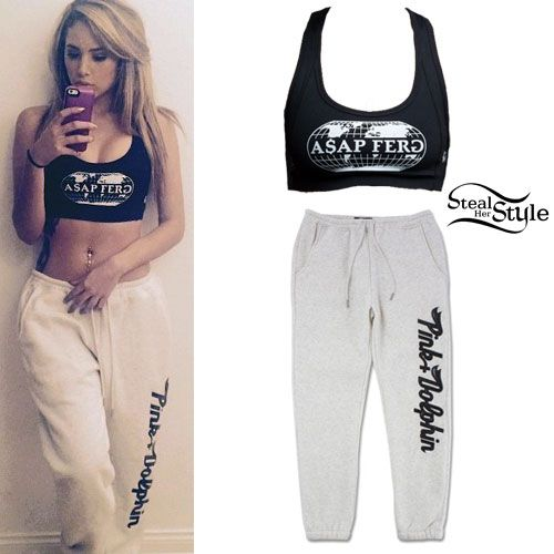Jasmine Villegas wearing a Young & Reckless ASAP Ferg YR Women's Sports Bra ($27.99) with a pair of Pink Dolphin Script Sweatpants In Oatmeal ($85.00).