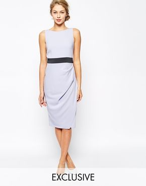 Closet Pencil Dress With Contrast Waist and Ruched Skirt