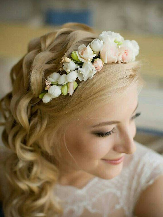 White and peach rose flower Tiara Bridal headband Flower crown Wedding  headpiece Natural look hair 0ec5584b14d
