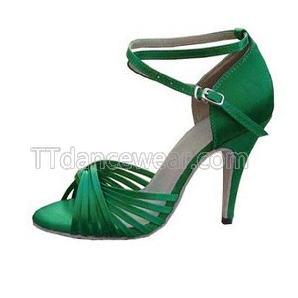 Free Shipping Wholesale Green Satin Straps Ballroom Latin Salsa Dance Shoes