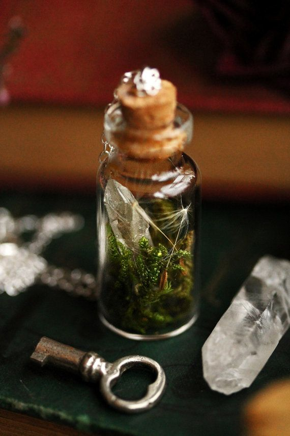 Crystal terrarium necklace real moss bottle by RubyRobinBoutique