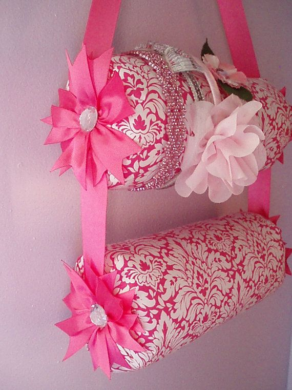 Double 11 inch Bolster Hanging Pink and White by EverlastingsBySue, $35.00, headband organizer