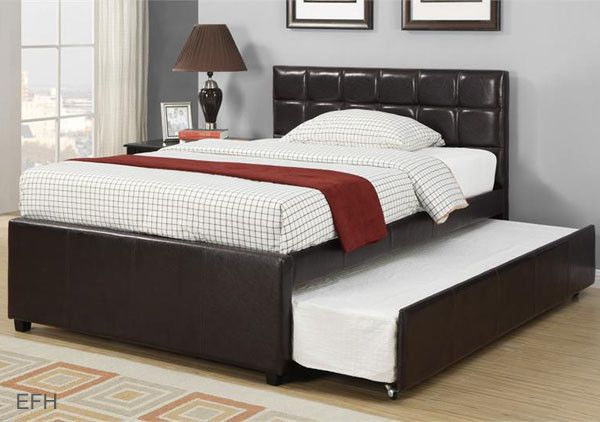 New Adena Contemporary Espresso Faux Leather Twin Full Platform Bed W Trundle Etizer Tables Pinterest