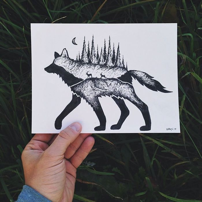 Usually it's the double exposure photographers that try to combine animals and their surroundings. Not so with Sam Larson!