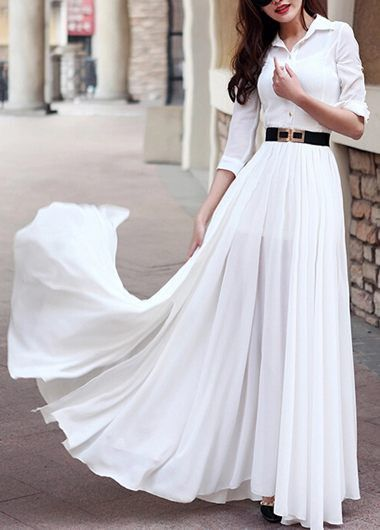 Turndown Collar Button Decorated White Maxi Dress on sale only US$38.21 now, buy cheap Turndown Collar Button Decorated White Maxi Dress at lulugal.com