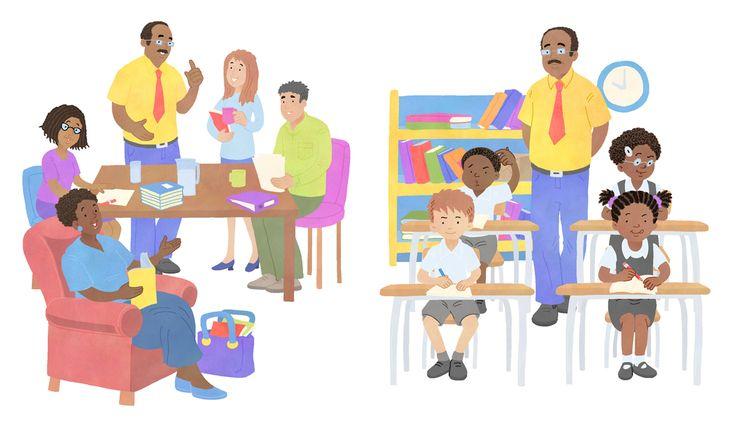 Staffroom and classrom scenes. #chantelleandburgenthorne #illustrators #childrensbook #illustration #published #education #reader