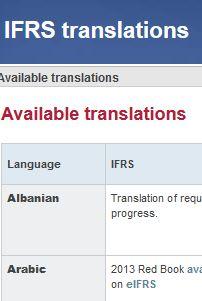 Normas internacionales de información financiera (NIIF), traducciones oficiales