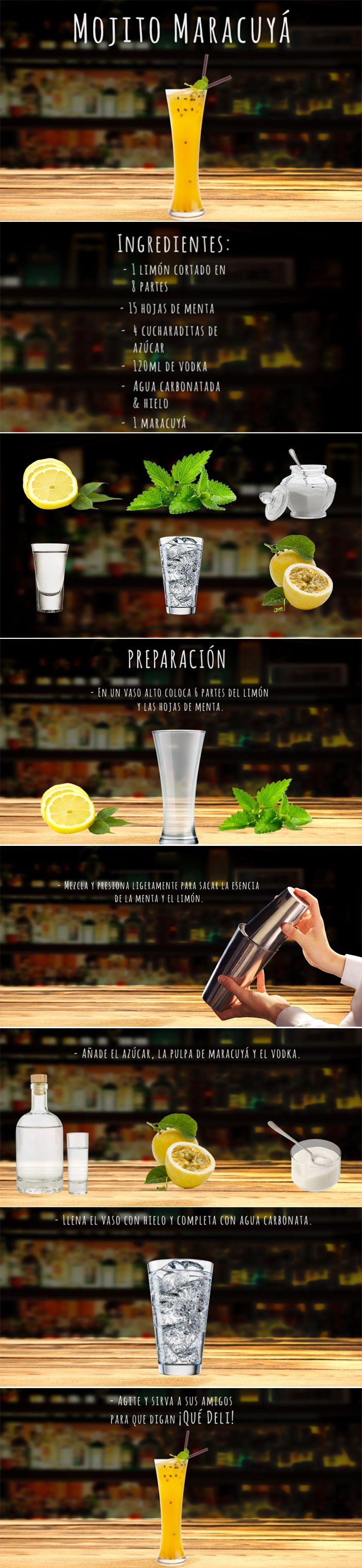 Lúcete con este fácil y apasionante coctel. #DateElGusto  Ingredientes:  -1 limón -15 hojas de menta -4 cucharaditas de azúcar  - 120ml de vodka - Agua carbonatada - Hielo - 1 Maracuyá  Preparación: En un vaso alto coloca 6 partes del limón y las hojas de menta. Mezcla y presiona ligeramente para sacar la esencia de la menta y el limón. Añade el azúcar, la pulpa de maracuyá y el vodka. Llena el vaso con hielo y completa con agua carbonata. Agite y sirva a sus amigos para que digan ¡Qué Deli!