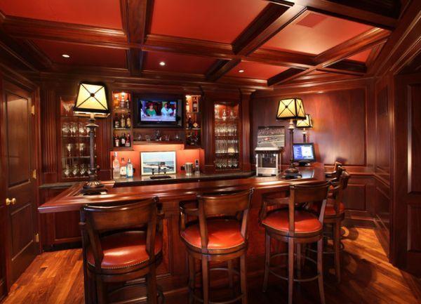 Dark and rich home bar in red cherry - Decoist