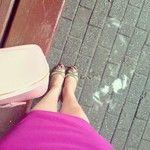 Gold, shoes, pink, bag, pencil skirt