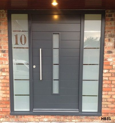 Contemporary Grey Doorset Etched Glass Front Doors With