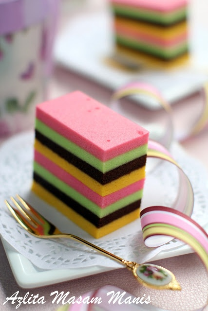 masam manis: KEK egg white colorful steam cake