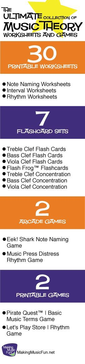Free printable music theory worksheets and games, and two fun music theory arcade games - all for kids. Totally awesome!