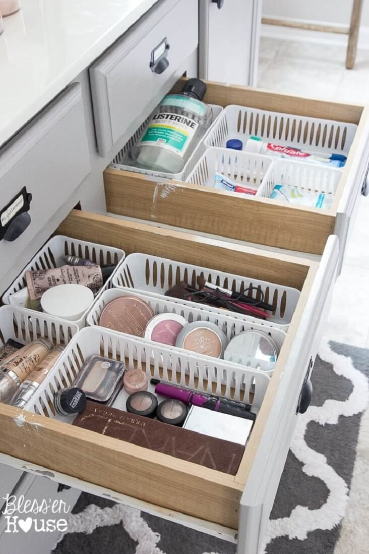 Cut off edges of bins so they fit flush together to maximize space in the drawer