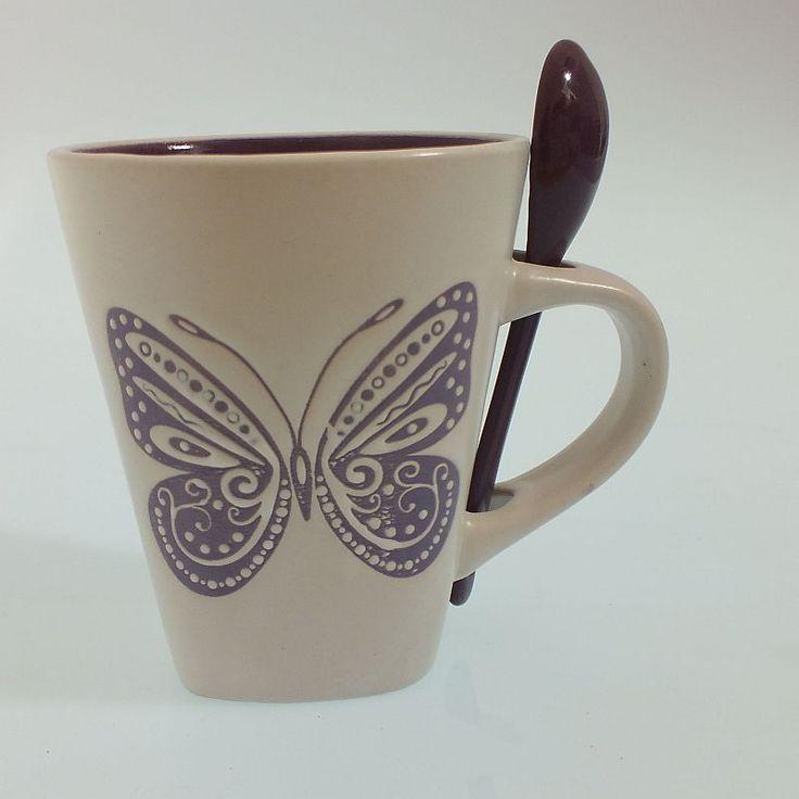 Porselen Kaşıklı Kupa - Kelebek Desenli #bardak #fincan #kupa #alışveriş