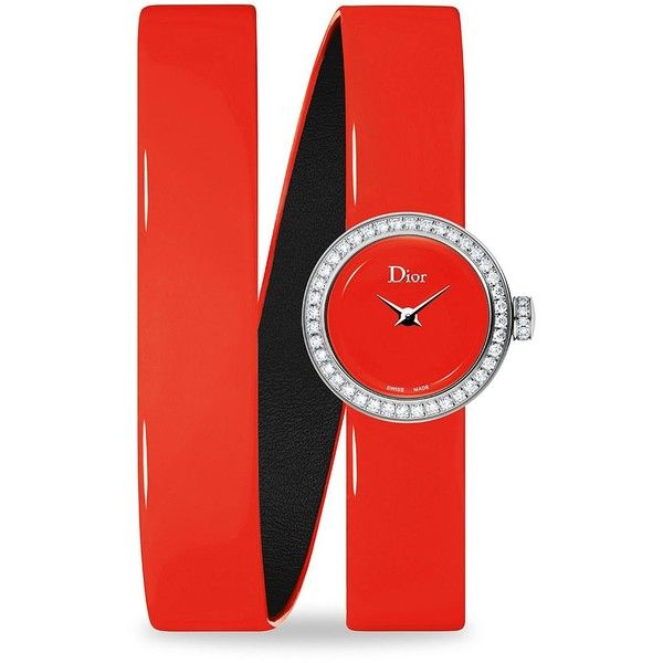 Dior La D de Dior Diamond & Patent Leather Bracelet Watch/Red (54.620.205 IDR) ❤ liked on Polyvore featuring jewelry, watches, watch bracelet, fine jewelry, red watches, diamond fine jewelry and wrap around bracelet watch