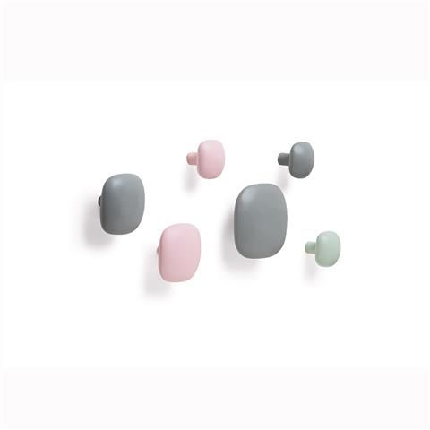 Wall Hooks - Pink/Grey/Green, Pack of 6 | Kmart
