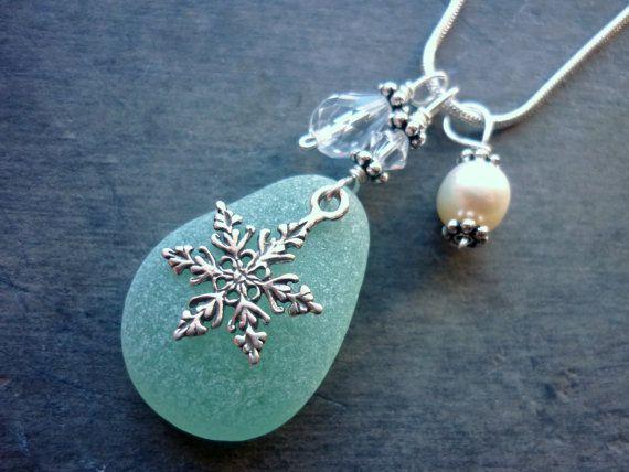 Sea Glass Jewelry Necklace  Aqua Blue Beach Seaglass by TheMysticMermaid